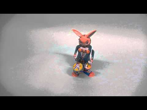 Tin Toy Bunny Playing Drums