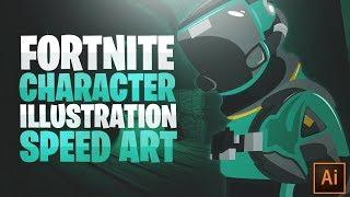 EPIC Fortnite Character/Mascot Illustration Speed Art (Adobe Illustrator)