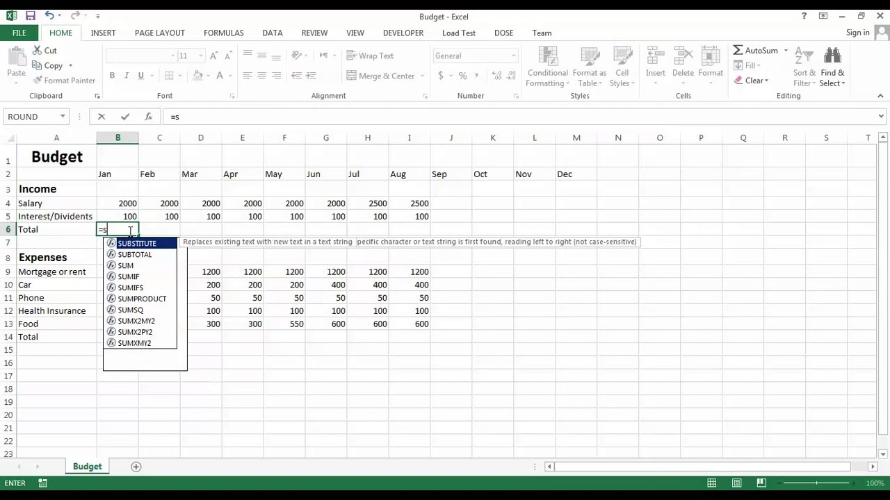 excel budget create your own budget sheet youtube