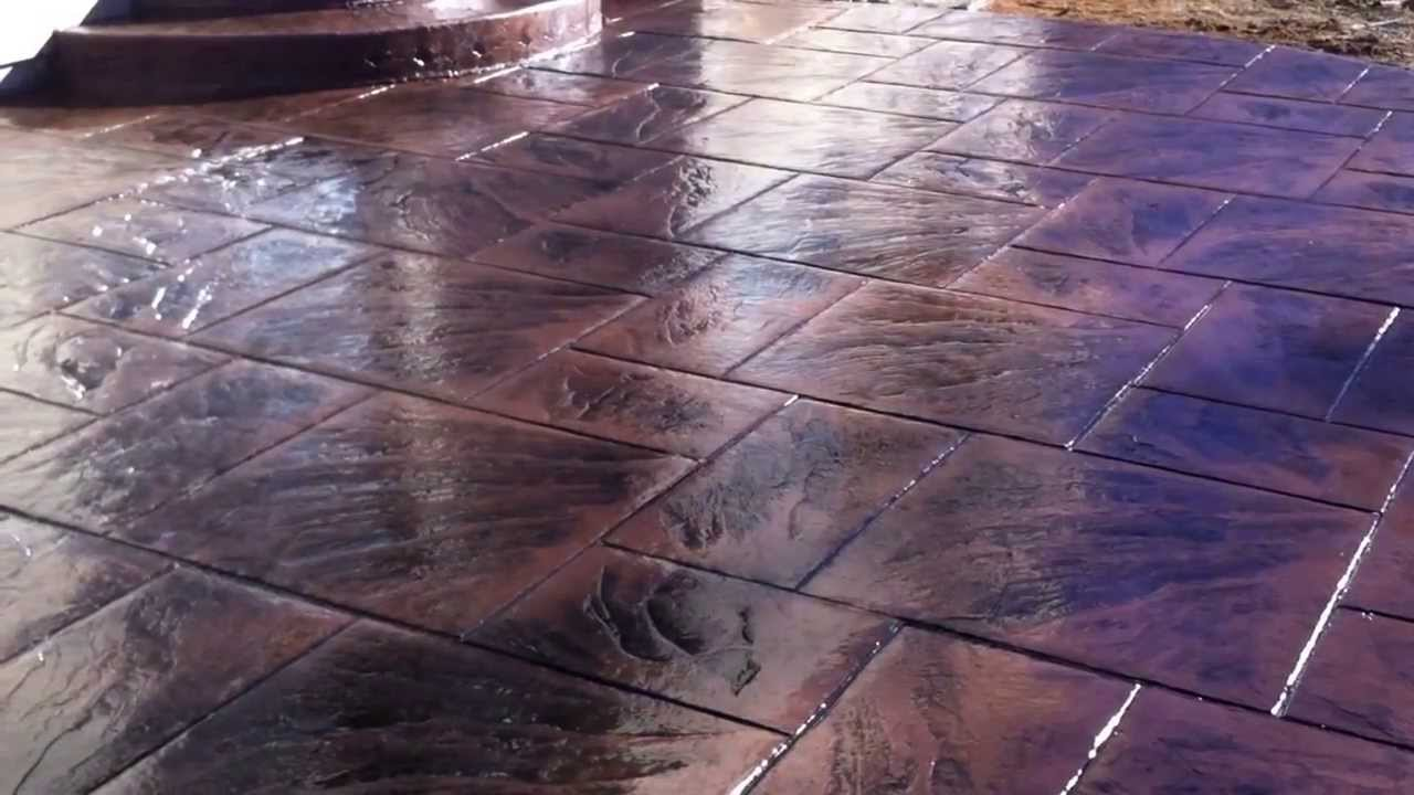 Stamped concrete Colored & stamped concrete installation - YouTube
