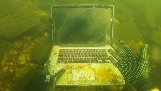 Found Macbook Apple Watch and a GoPro Underwater in River Scuba Diving