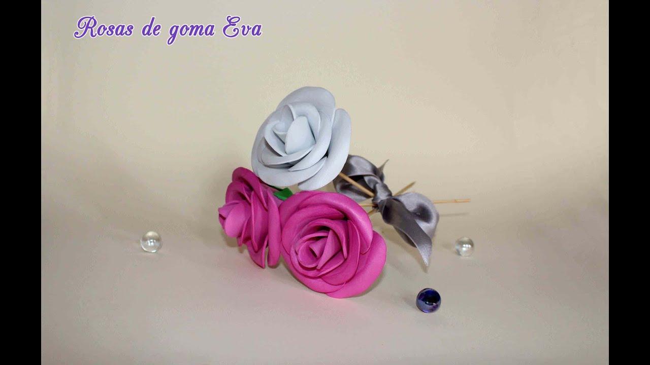 Como hacer rosas de goma eva youtube - Como hacer flores ...