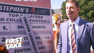 Dabo Swinney crashes Stephen's A-List, puts Trevor Lawrence on top | First Take