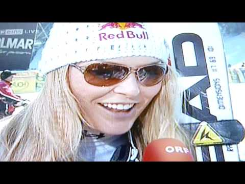 Lindsey Vonn interview after the DH in Tarvis