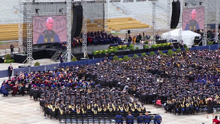 Notre Dame students walking out on Pence commencement speech