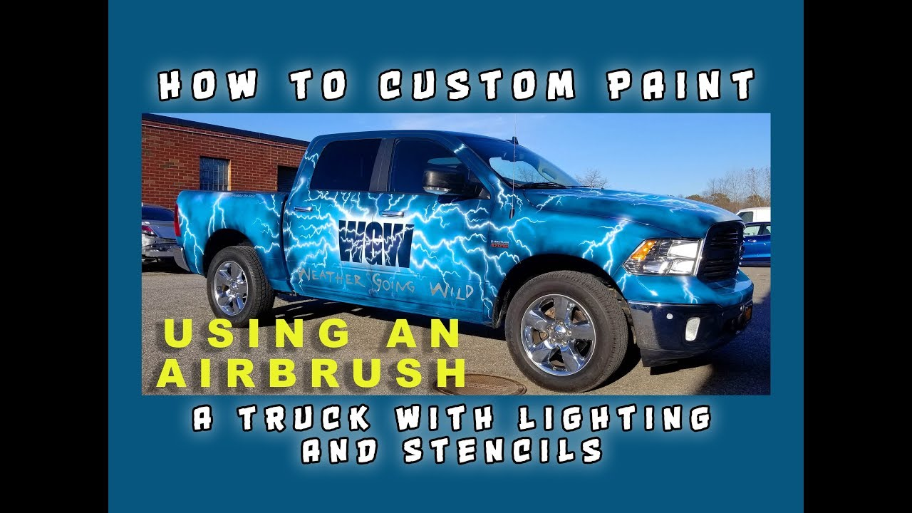 How to custom Paint a Truck with Lightning and Stencils using an airbrush  and spray gun