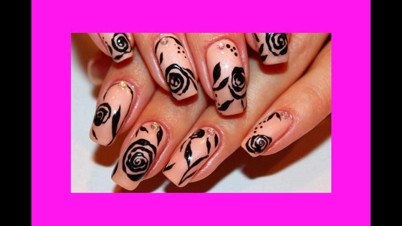 Дизайн ногтей Розы по мокрому гель-лаку. Маникюр роза гель ...