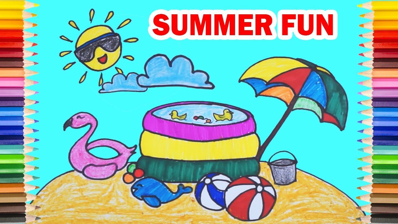Drawing the TOYS for a BEACH SUMMER OUTING ! Draw and Coloring Easy
