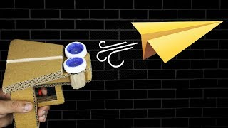 How to make PAPER Plane Gun Launcher from Cardboard DIY at HOME