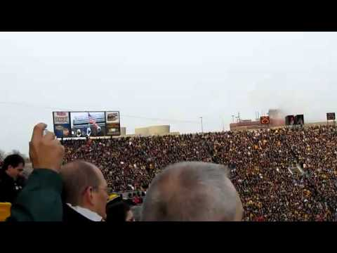 Airforce flyover of Iowa-Ohio st. game that cost lead pilot his wings (two videos)
