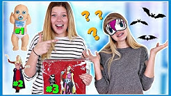Picking our  Halloween costume BLINDFOLDED challenge! || Taylor & Vanessa