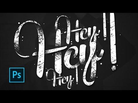 Retro lettering - 3D shadow & Grunge Texture photoshop - Text effect photoshop tutorials