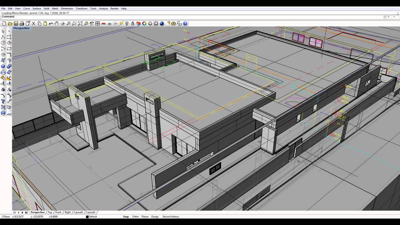Modeling house prints and video rhino 2012 youtube for Software to model a house