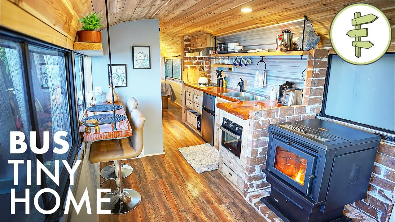 1975 Passenger Bus Converted into a Stunning Tiny Home with a View - FULL TOUR