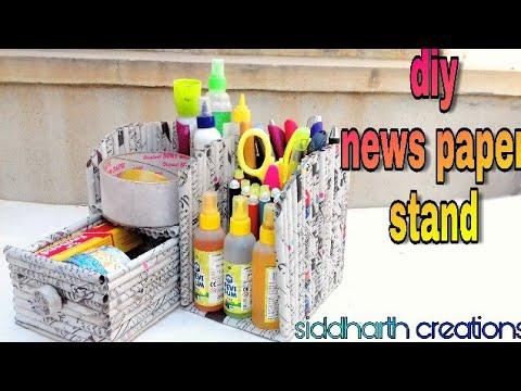 how to make news paper stationery holder;how to make desk organizer;diy desk stand