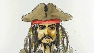 How to draw JackSparrow - Pirates of the Carribean - Realtime tutorial
