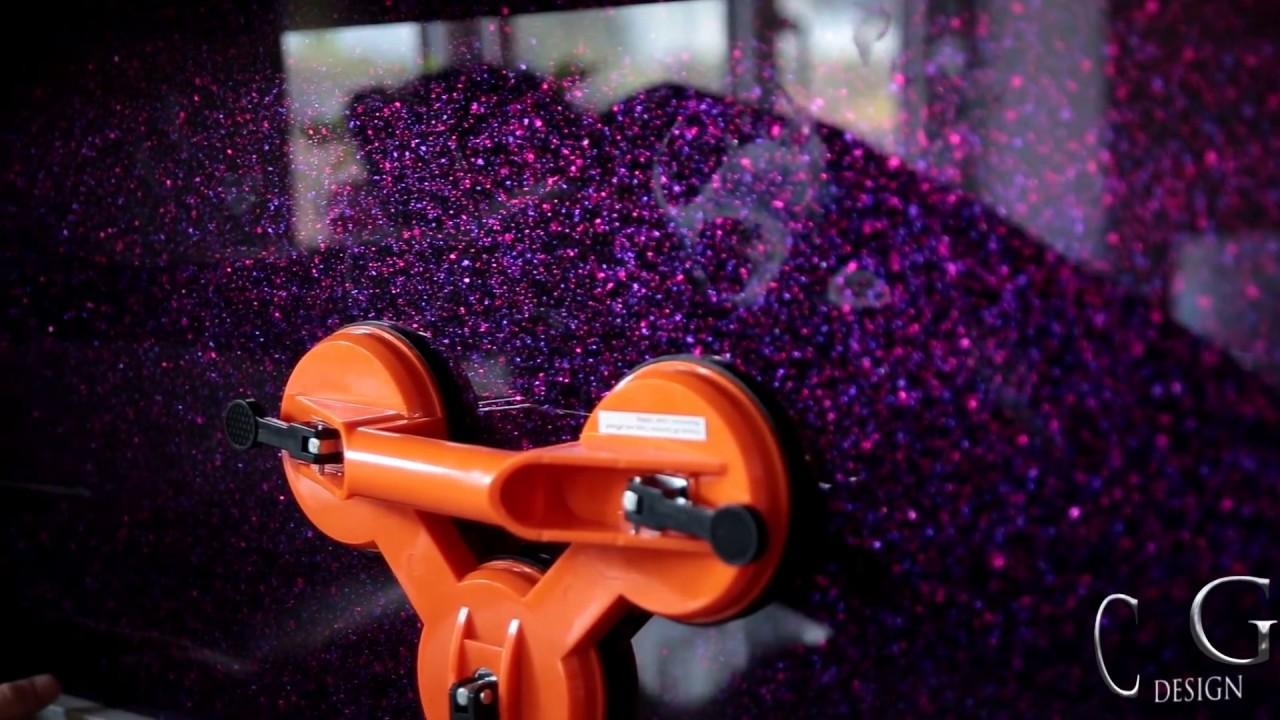"""Purple Haze"" Luxury Kitchen Splashback - CreoGlass - YouTube"