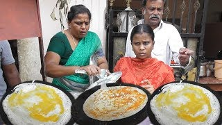 Anna & His Family Selling Breakfast - Egg Dosa @ 20 rs - Kara Dosa @ 15 rs - Street Food Hyderabad