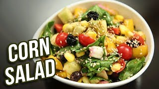 Corn Salad Recipe - How To Make Easy Salad With Dressing At Home - Vegetable Salad - Ruchi Bharani