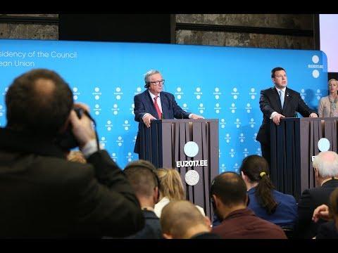 Jüri Ratase ja Euroopa Komisjoni presidendi Jean-Claude Junckeri ühine pressikonverents