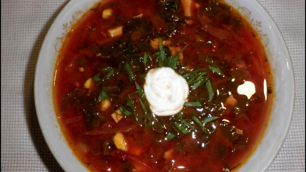 Борщ зелений \ Зелёный борщ с томатным  соком \ Рецепт украинского борща со щавлём и шпинатом