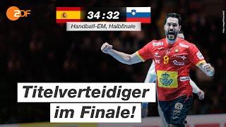 Der titelverteidiger setzt sich durch: #spanien gewinnt im halbfinale mit 34:32 gegen #slowenien und steht somit finale #handball-em kroatien.al...