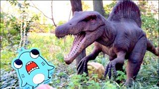 サメニンとデンパークに行こう!公園で恐竜やお花を見てお砂場遊びをしたよ!