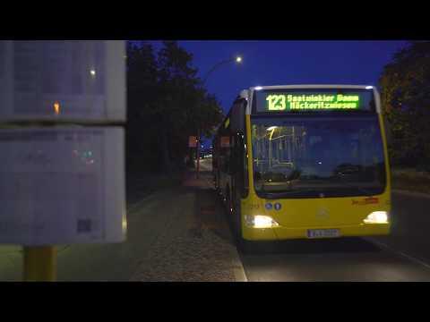 Germany, Berlin, Bus 123 Night Ride From Berliner Großmarkt To  Popitzweg