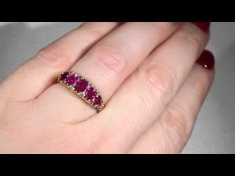 ANTIQUE 5 STONE RUBY AND DIAMOND RING IN 18K GOLD