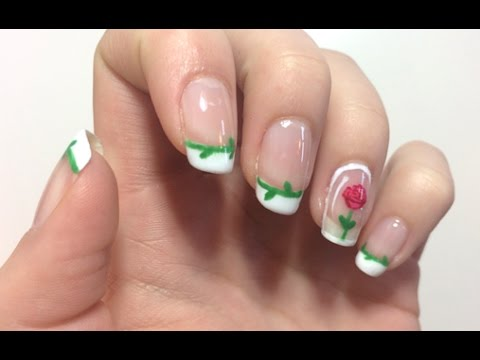 Beauty And The Beast Enchanted Rose French Tip Nail Art