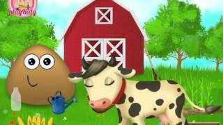 Мультик ИГРА для ДЕТЕЙ - POU. ПОУ на ферме. POU on the farm.Funny Game for Kids