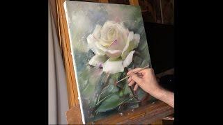 Белая роза. Speed painting. Alla Prima. Process of creating oil painting. Rose (study).