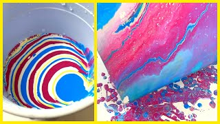 Daily Challenge #2/ Acrylic Pouring /  Mix of Four Colors / Fluid Art