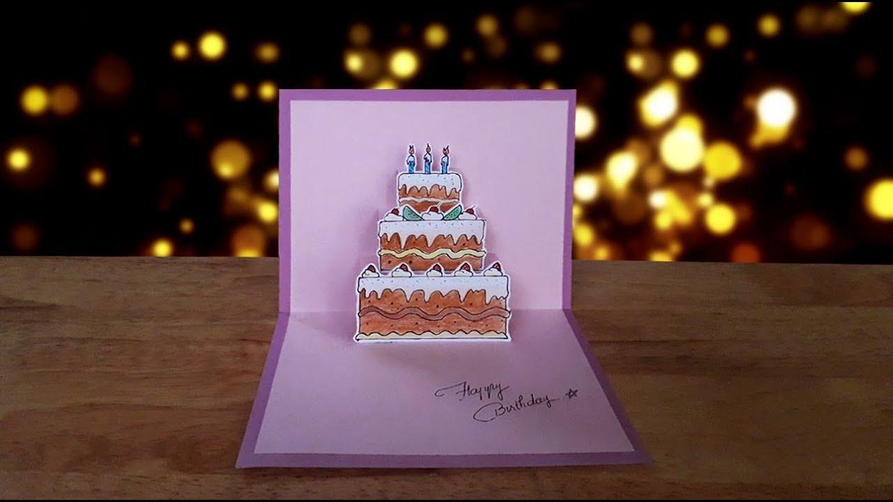 Hướng dẫn làm thiệp 3D bánh kem   Happy Birthday   Dzi's house