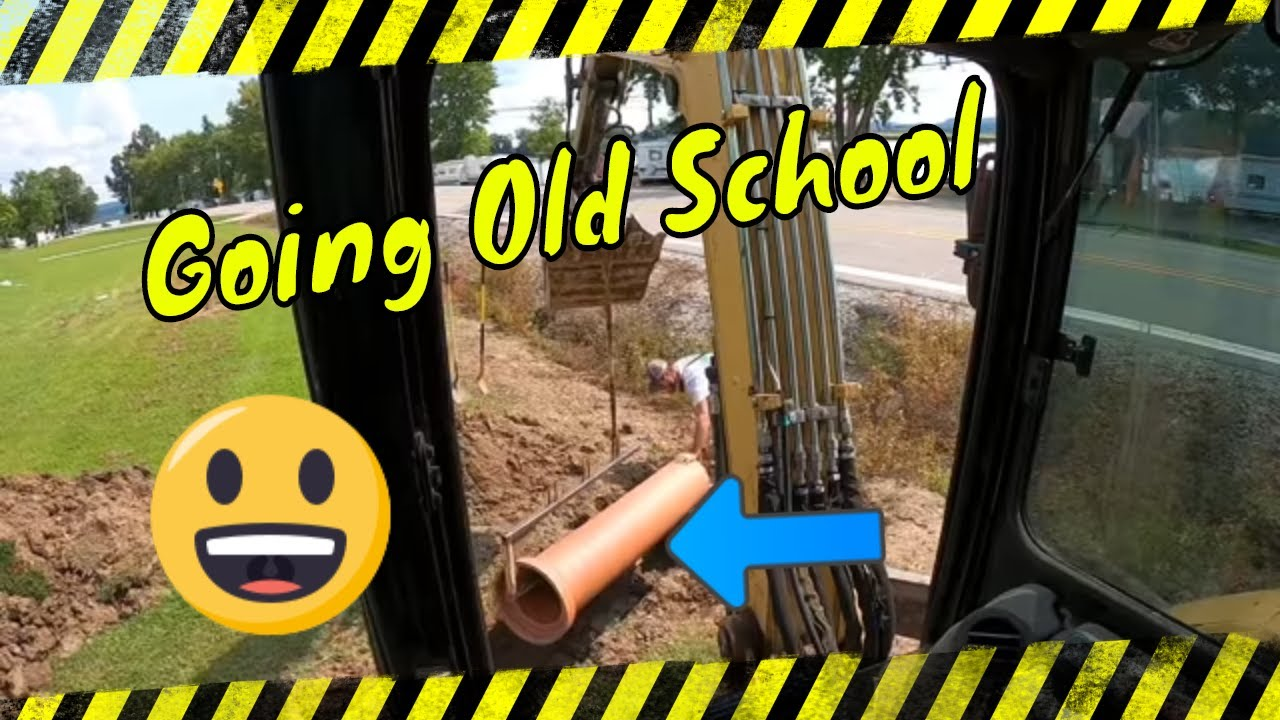 """Going old school on a new drainage project install 14""""clay pipe with mini excavator #oldschool"""
