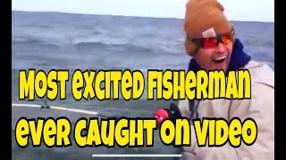 Huge Blue catfish caught on Lake Tawakoni by excited fisherman MOST EXCITED FISHERMAN EVER!