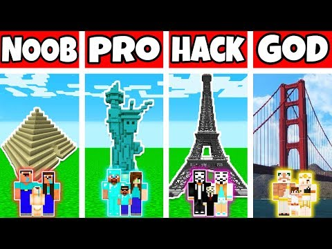 Minecraft: FAMILY TRAVEL CHALLENGE - NOOB Vs PRO Vs HACKER Vs GOD In Minecraft