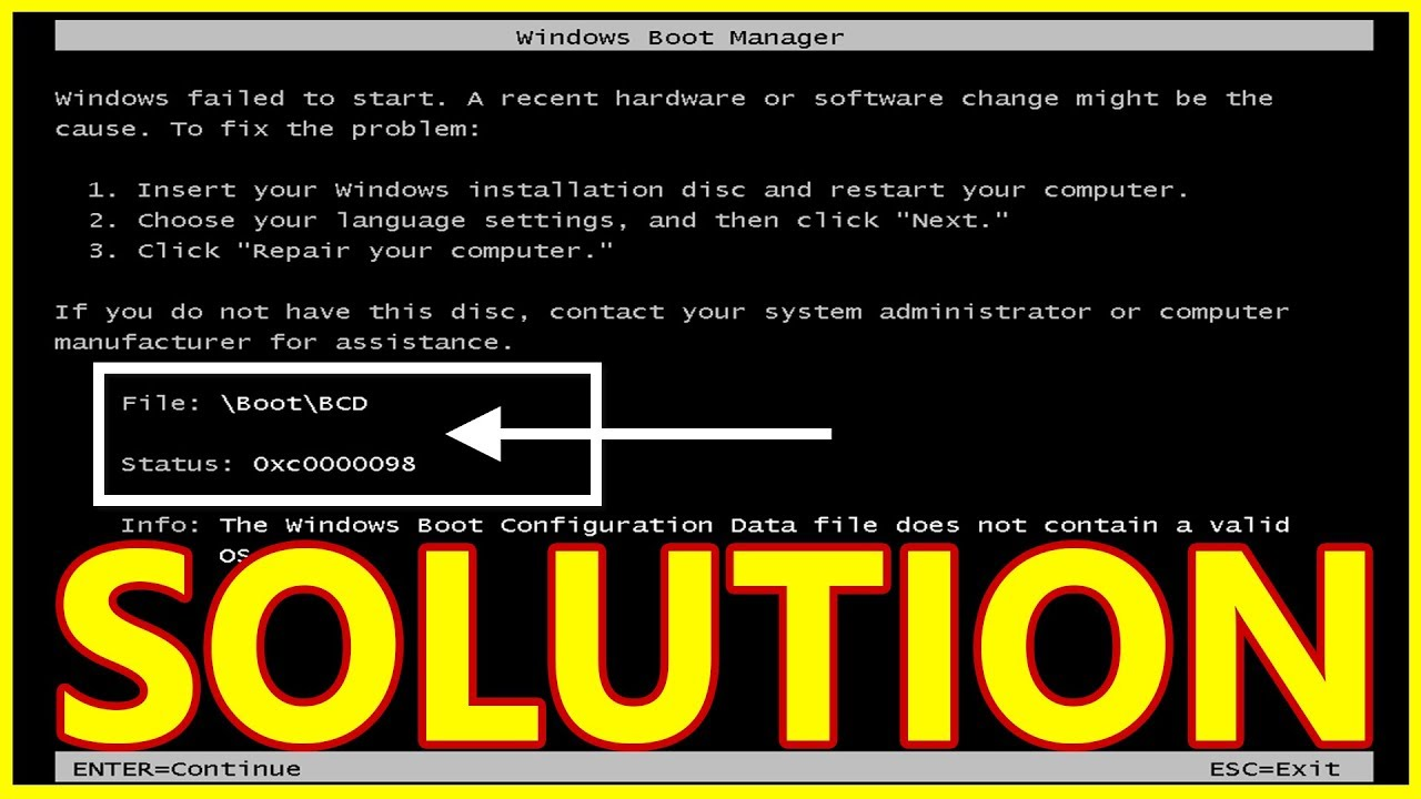[Solved] Windows Failed To Start or Windows Boot Manager BCD Issue When  Power On The Computer