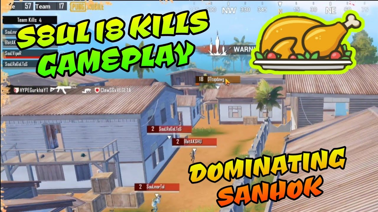 S8ul 18 Kills Domination, Chicken Dinner in Sanhok, Viper 1 v 2 Final Circle Pubg Mobile Highlights