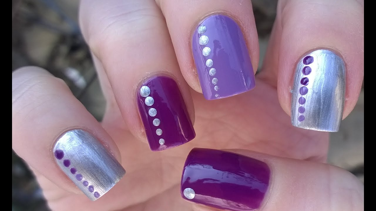 Easy nail art designs 3 diy elegant silver violet purple easy nail art designs 3 diy elegant silver violet purple dotticure nails youtube prinsesfo Image collections