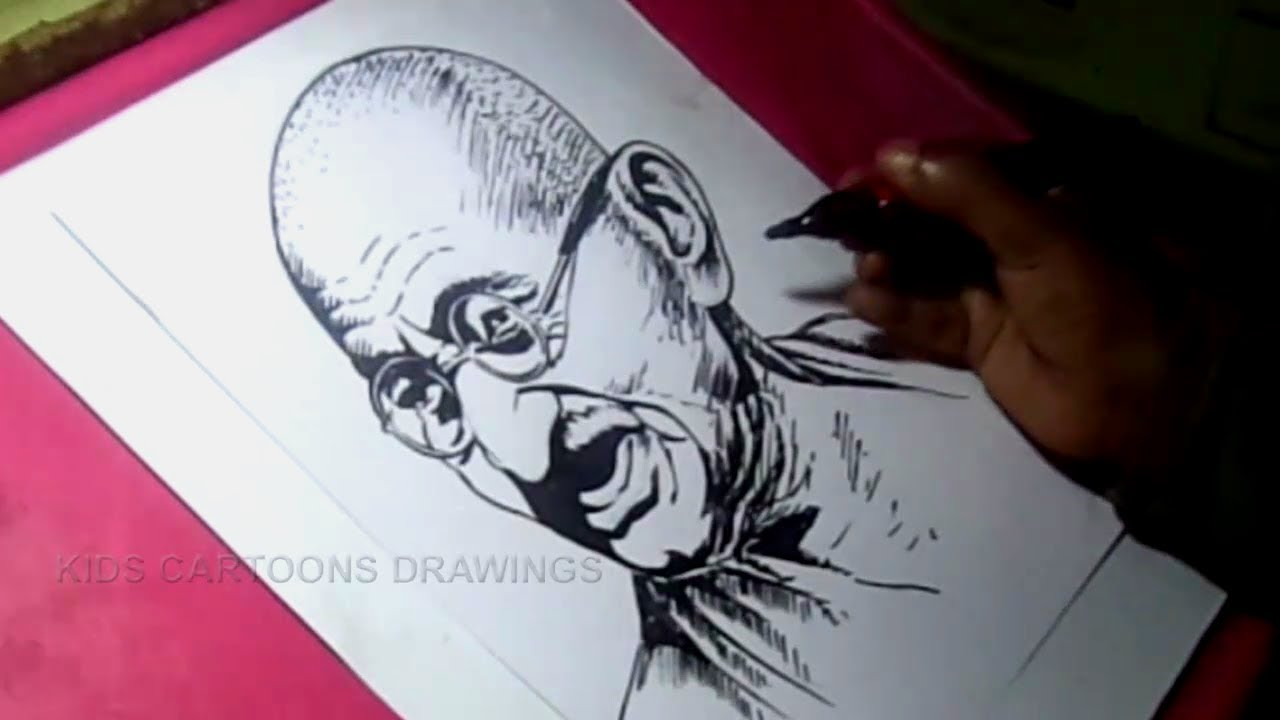 How to draw mahatma gandhi detailed drawing step by step for kids