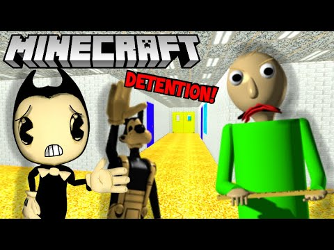 BENDY & BORIS GET ATTACKED BY BALDI IN MINECRAFT! (SCARY BATIM MINECRAFT) thumbnail