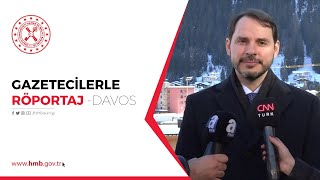 Hazine ve Maliye Bakanı Berat Albayrak, Davos'ta Gazetecilerle Röportaj Yapıyor.