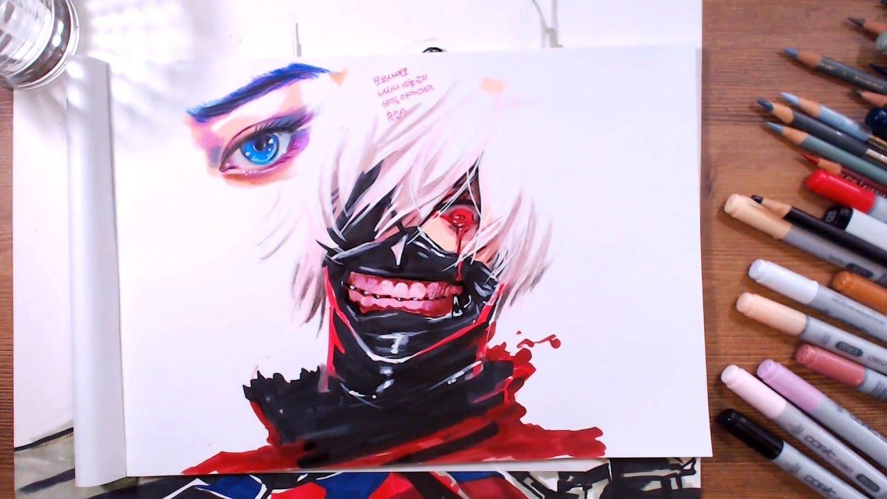 tokyo ghoul ken kaneki speed drawing drawholic youtube