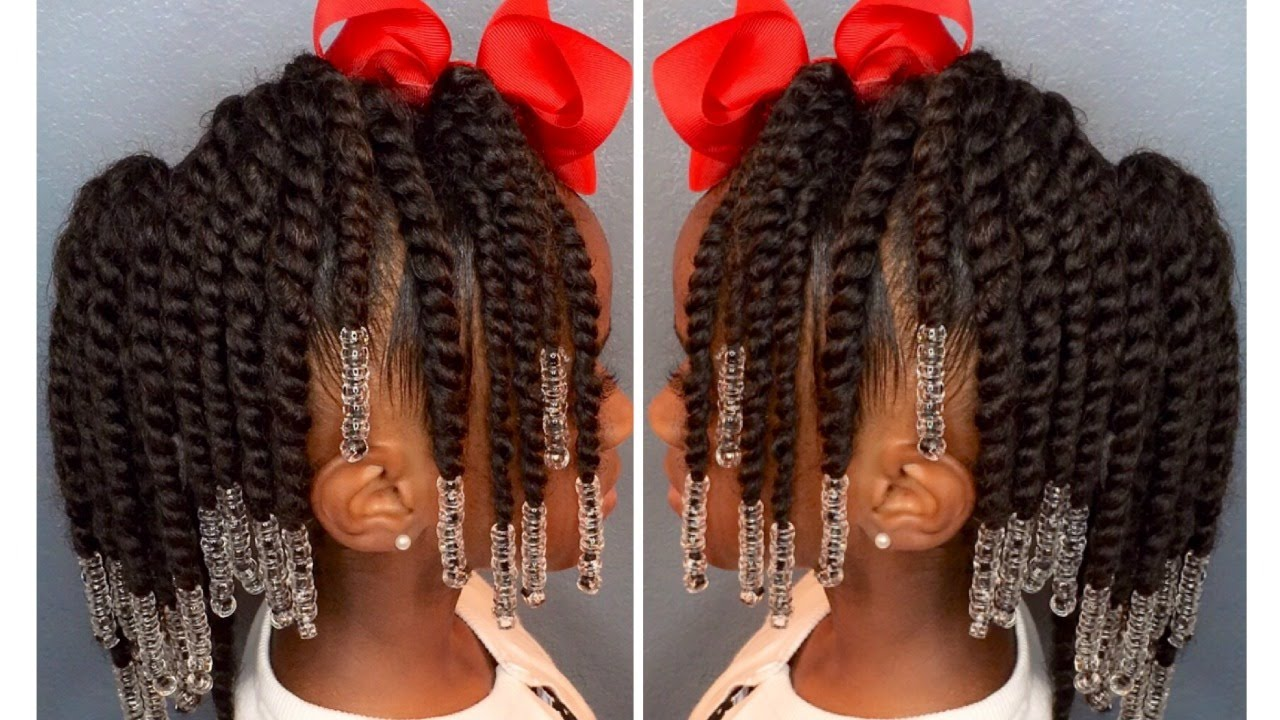 two strand twist pony hawk w beads kids natural hair