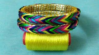 Silk thread bangles with gota | silk thread gota bangles | multicolour silk thread bangle new design