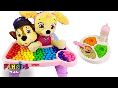Thumbnail: Best Learning Colors Video for Children - Paw Patrol Babies Skye & Chase Eat Gumballs in High Chair