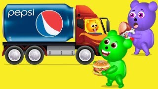 Mega Gummy Bear Pepsi Cans Kinder Finger Family Nursery Rhyme For Kids