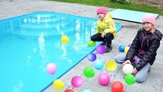 BALLOONS SURPRISE CANDY Challenge in POOL, Бассейн челлендж ШАРИКИ С КОНФЕТАМИ, бассейн с шариками