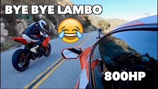 Cocky Lamborghini Gets DESTROYED By Superbike LOL